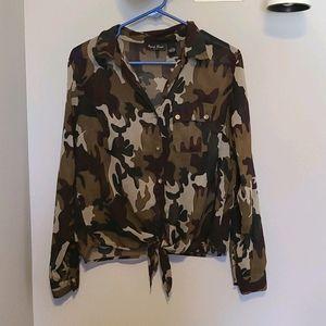 Speed Limit Camouflage Sheer Tie Waist Button Down
